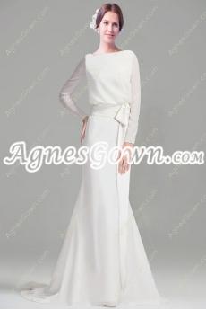 Noble Bateau Neckline Long Sleeves Bohemian Wedding Dress