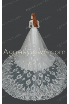 Off The Shoulder Half Sleeves Lace Wedding Dress Cathedral Train