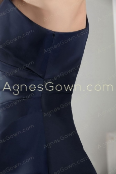 One Shoulder A-line Dark Navy Formal Evening Dress