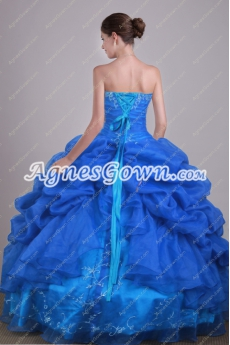 Organza Royal Blue Ball Gown Sweet 15 Dress With Embroidery