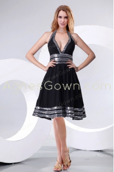 Sexy Top Halter Knee Length Prom Dress With Silver Sequins