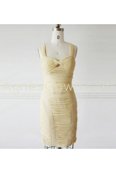 Sheath Mini Length Pale Yellow Bandage Dress