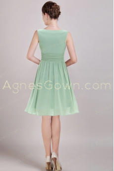 Short Length Sage Colored Junior Prom Dress