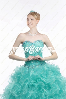 Special Teal Colored Quinceanera Dress With Rhinestones