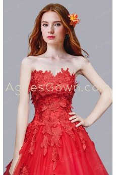 Stunning Red Ball Gown Wedding Dress With Lace