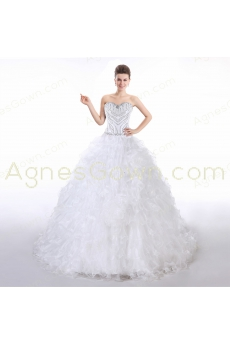Stylish Beaded Bodice Ball Gown Wedding Dress 2016