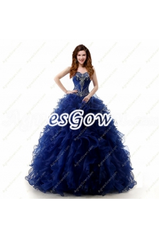 Stylish Dark Navy Blue Ball Gown Quinceanera Dress