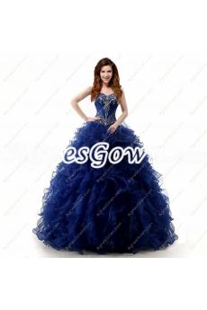Stylish Dark Navy Blue Ball Gown Quinceanera Dress