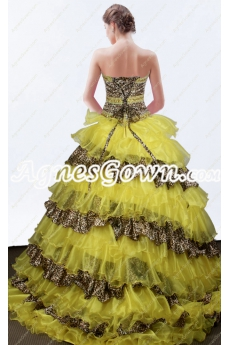 Stylish Yellow And Leopard Quinceanera Dress