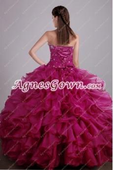 Sweet Fuchsia Ball Gown Quinceanera Dress With Bolero