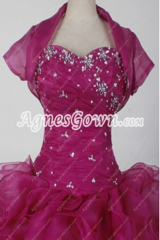 Sweet Fuchsia Ball Gown Quinceanera Dress With Bolero