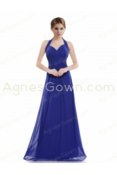 Top Halter Royal Blue Chiffon Long Prom Dress
