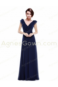 V-Neckline Floor Length Dark Navy Long Prom Dress With Ruffles