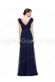 V-Neckline Floor Length Dark Navy Long Prom Dress With Ruffles