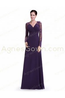 V-Neckline Long Sleeves Purple Mother Of The Bride Dress