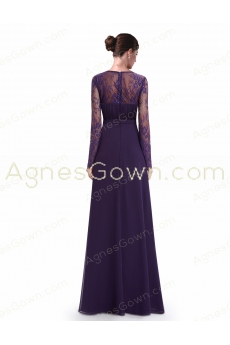 V-Neckline Long Sleeves Purple Mother Of The Bride Dress