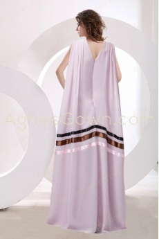 V-Neckline Pink Formal Evening Dress