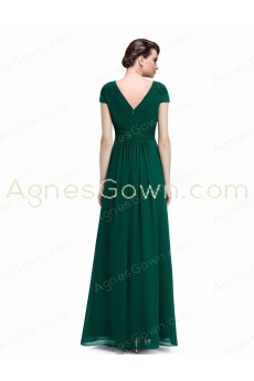 V-Neckline Short Sleeves Forest Green Chiffon Mother Dress