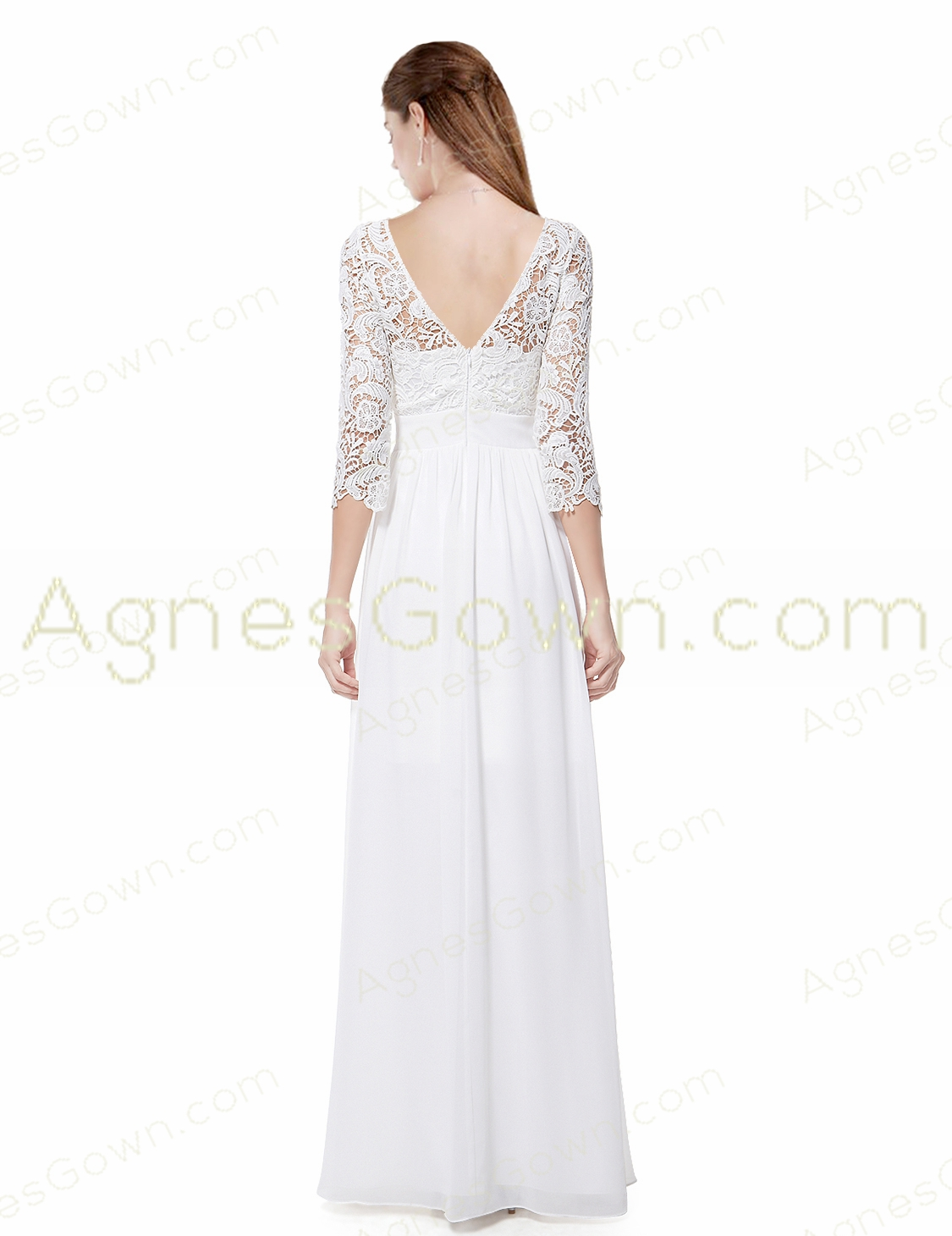 3/4 Sleeves Beach Wedding Dress With Lace