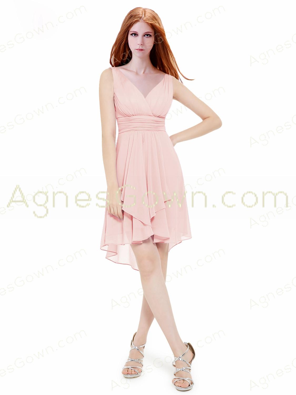 Asymmetrical Hem Pink Prom Dress V-neckline