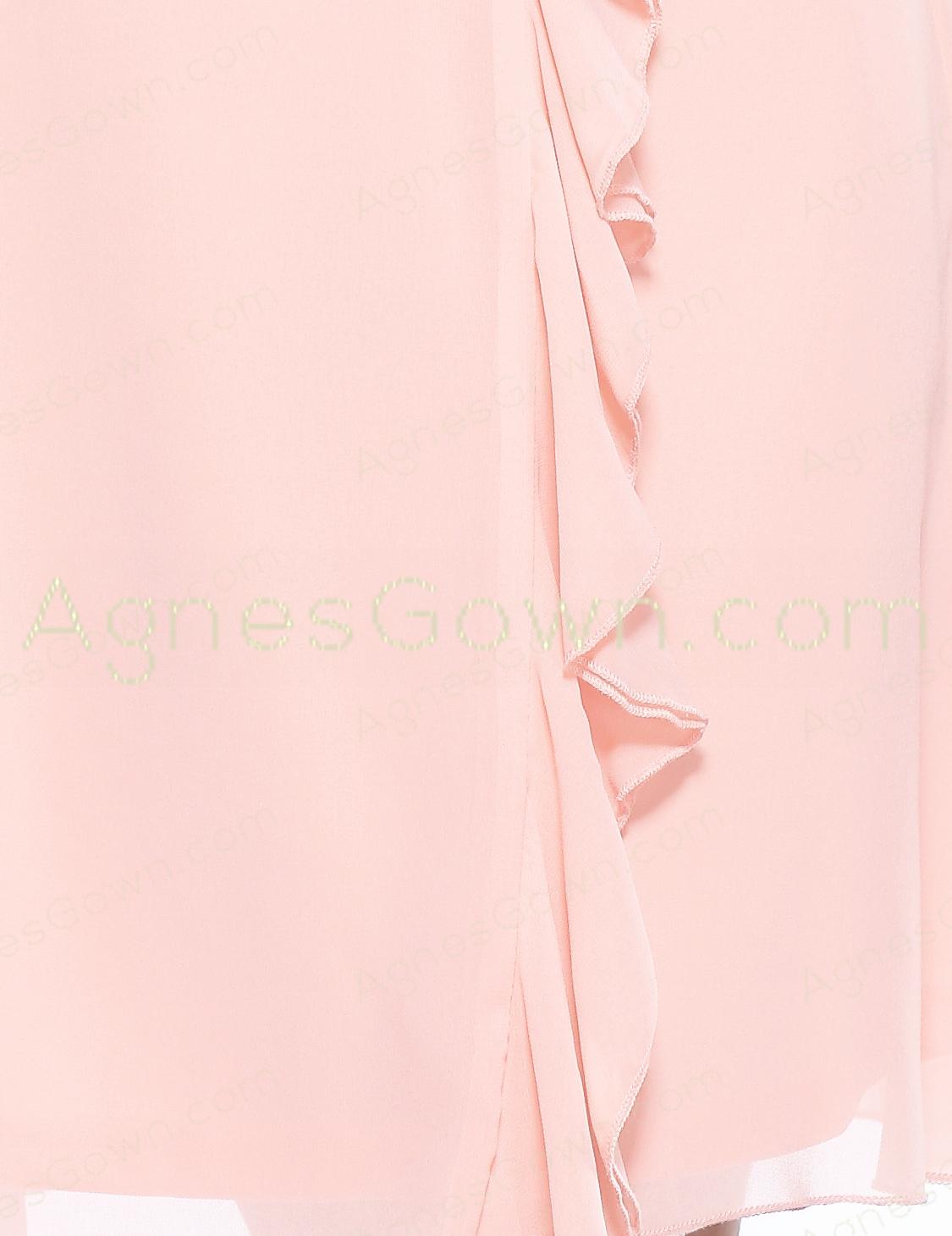 Cap Sleeves Short Length Pink Graduation Dress