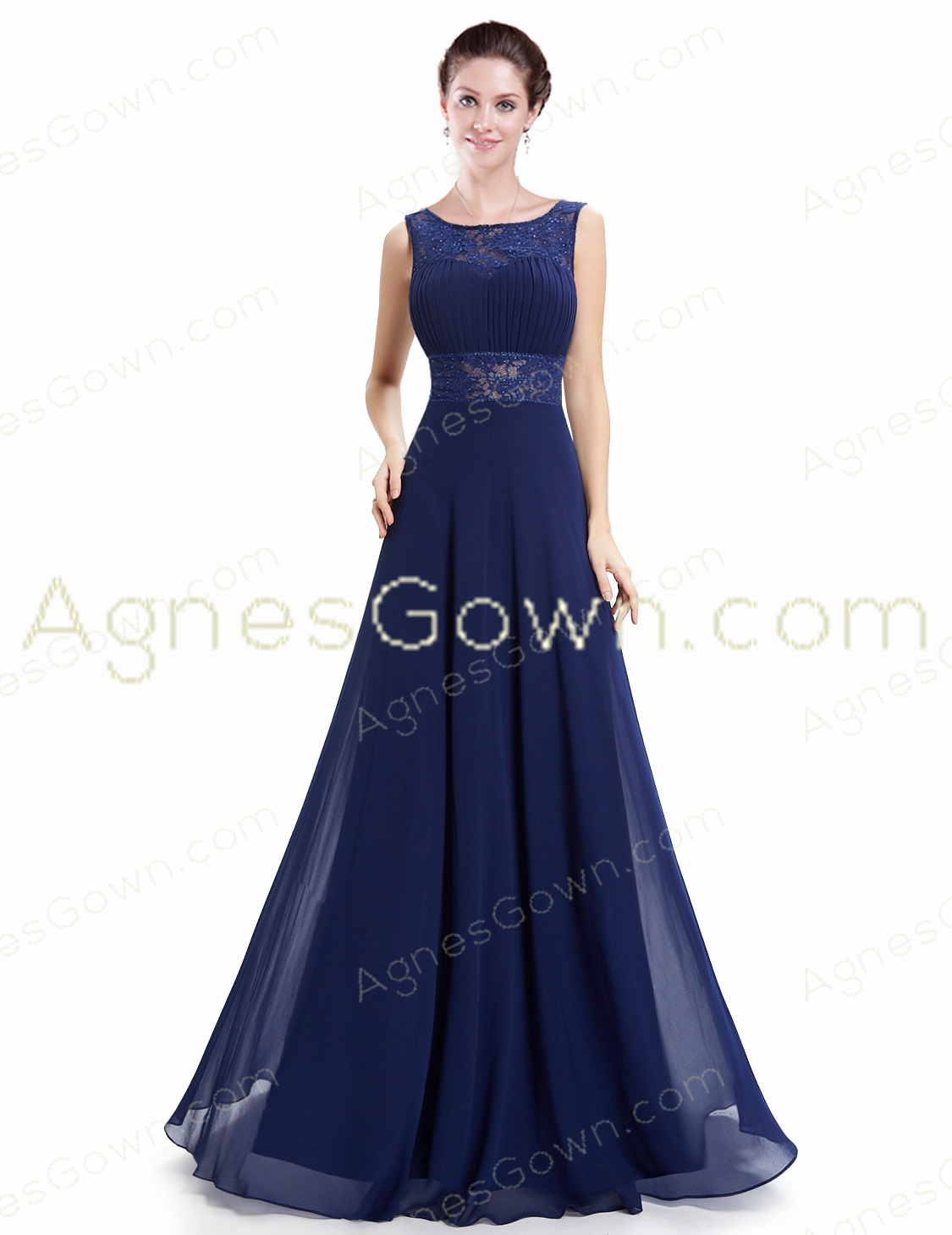 Charming Square Neckline Dark Royal Blue Evening Dress Backless