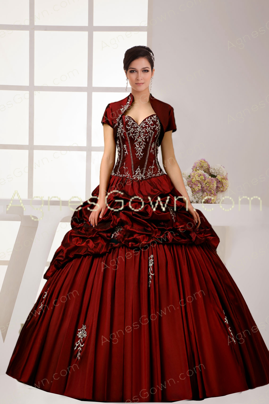 Classy Burgundy Quinceanera Dress With Bolero