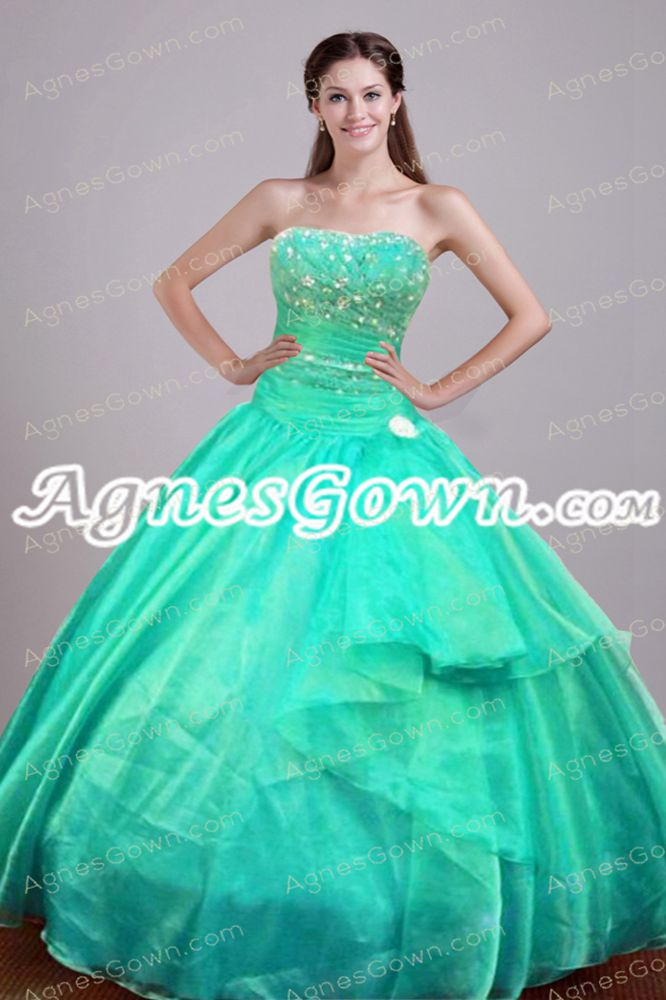 Cute Aqua Organza Sweet 15 Dress With Rhinestones
