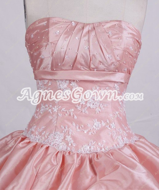 Cute Dipped Neckline Pink Taffeta Sweet 16 Dress