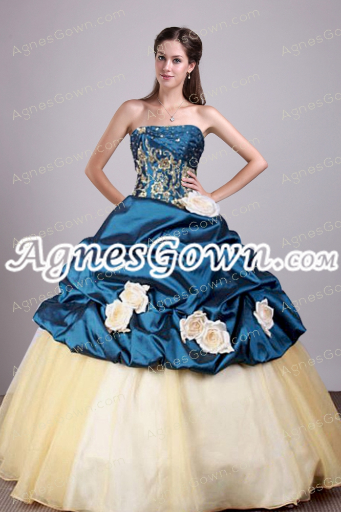 Dark Navy And Champagne Colored Sweet 15 Dress