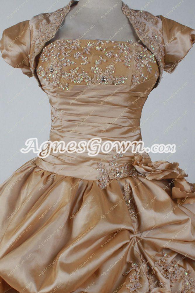 Exclusive Champagne Taffeta Ball Gown Vestidos de Quinceañera Dress