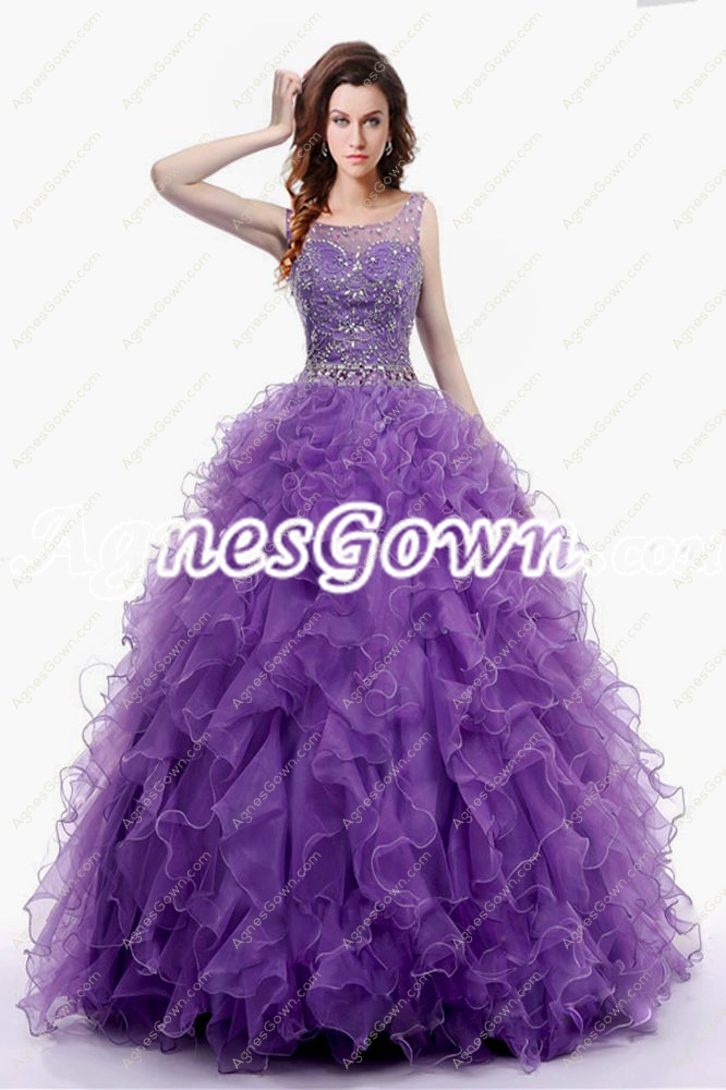 Exquisite Purple Organza Quinceanera Dress With Beaded Bodice