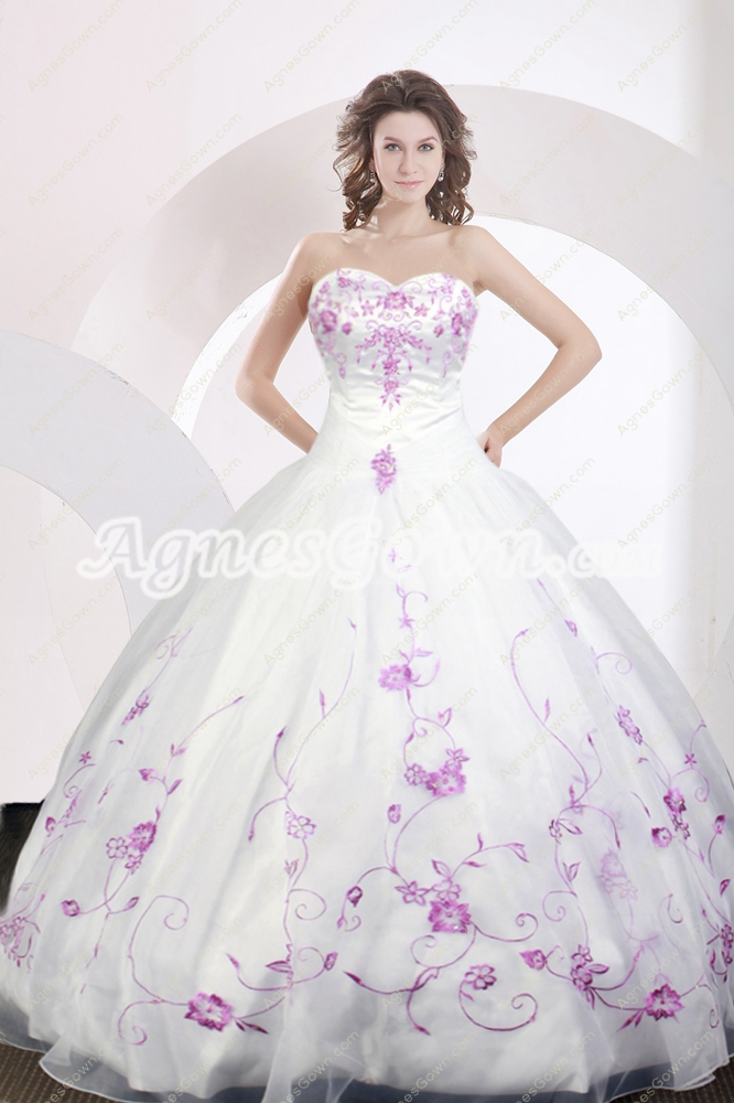Exquisite White Ball Gown Organza Quince Dress With Regency Embroidery