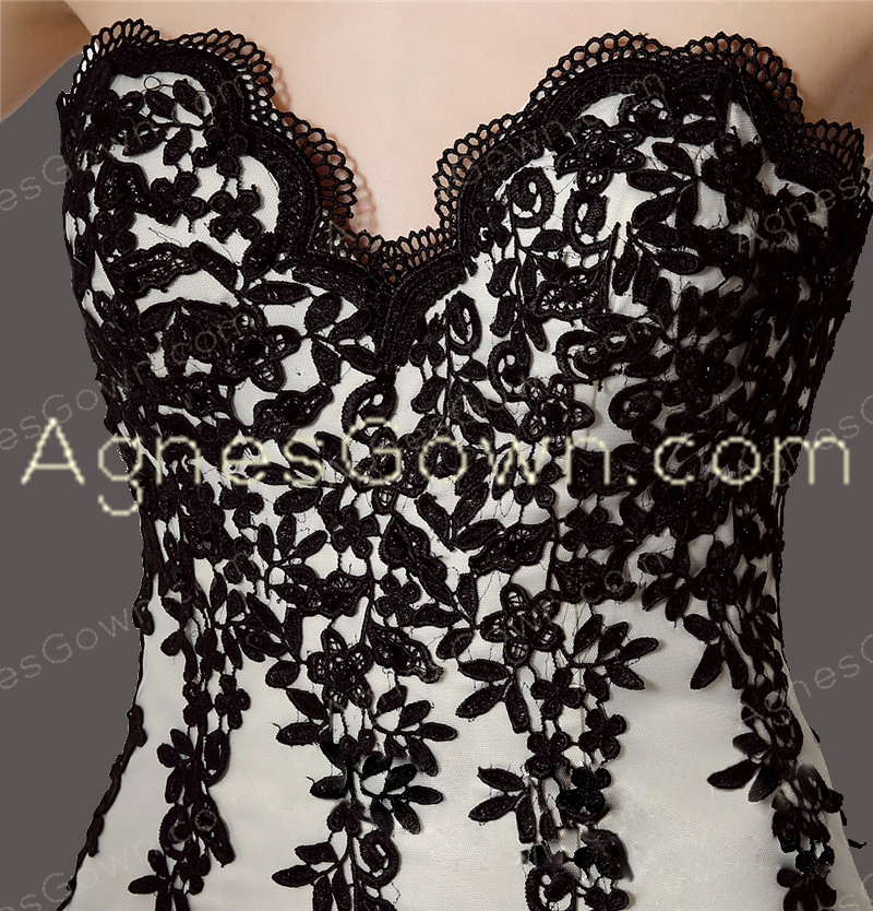 Fashionable Black And White High Low Prom Dress