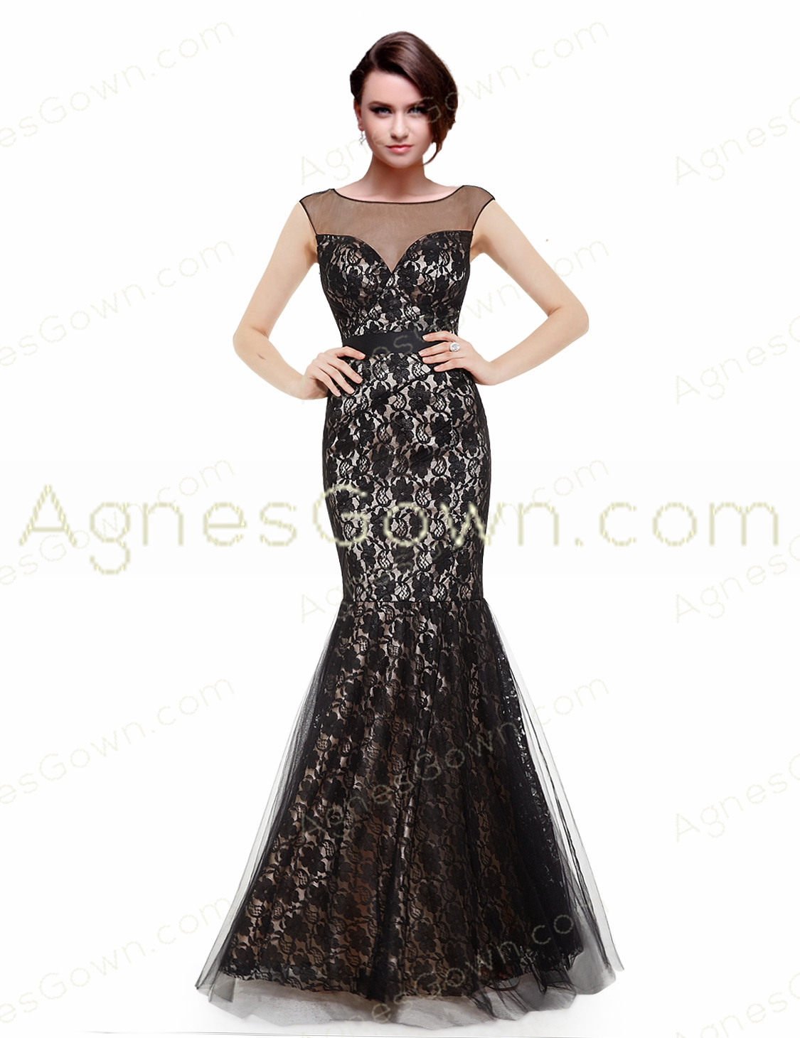 Glamour Black And Champagne Lace Mother Of The Bride Dress
