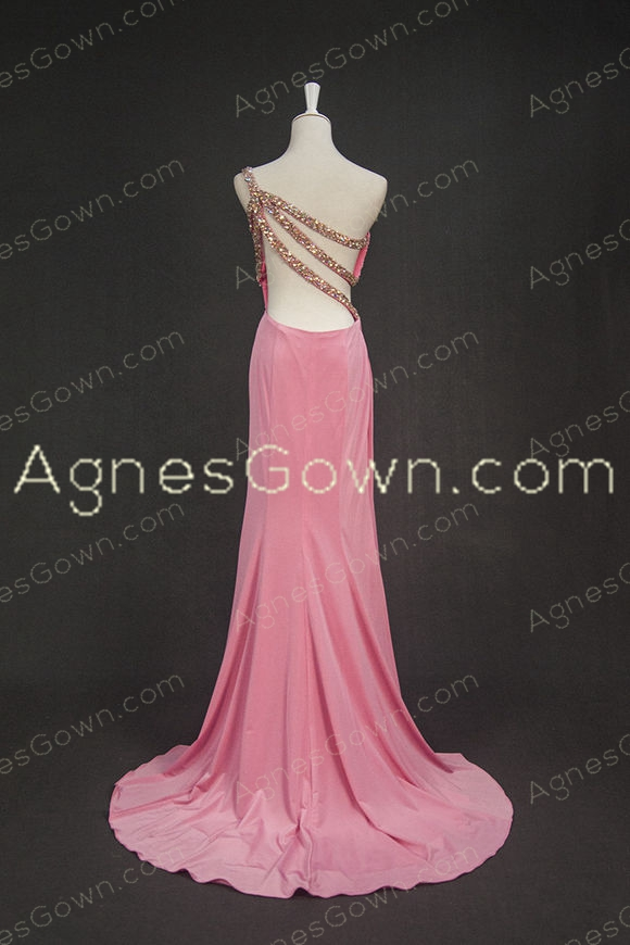Hollowed-out One Shoulder Neckline Peach Formal Evening Dress