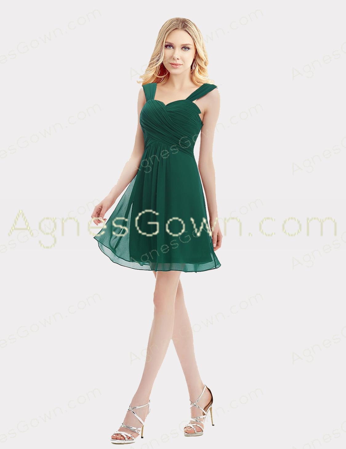 Hunter Green Short Graduation Dress