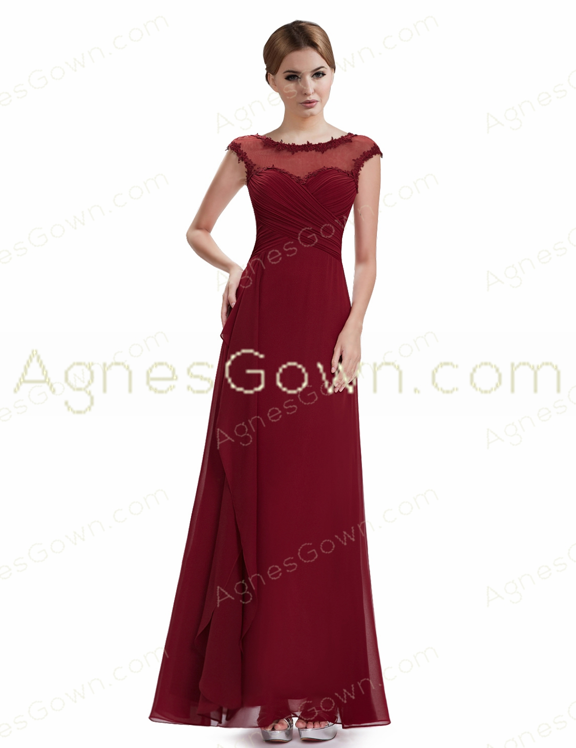 Illusion Neckline Dark Red Prom Dress With Lace