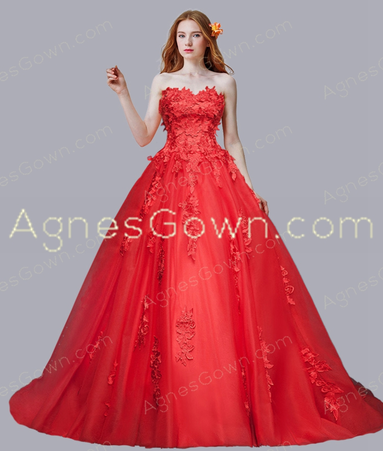 Impressive Red Wedding Dress With Cathedral Train