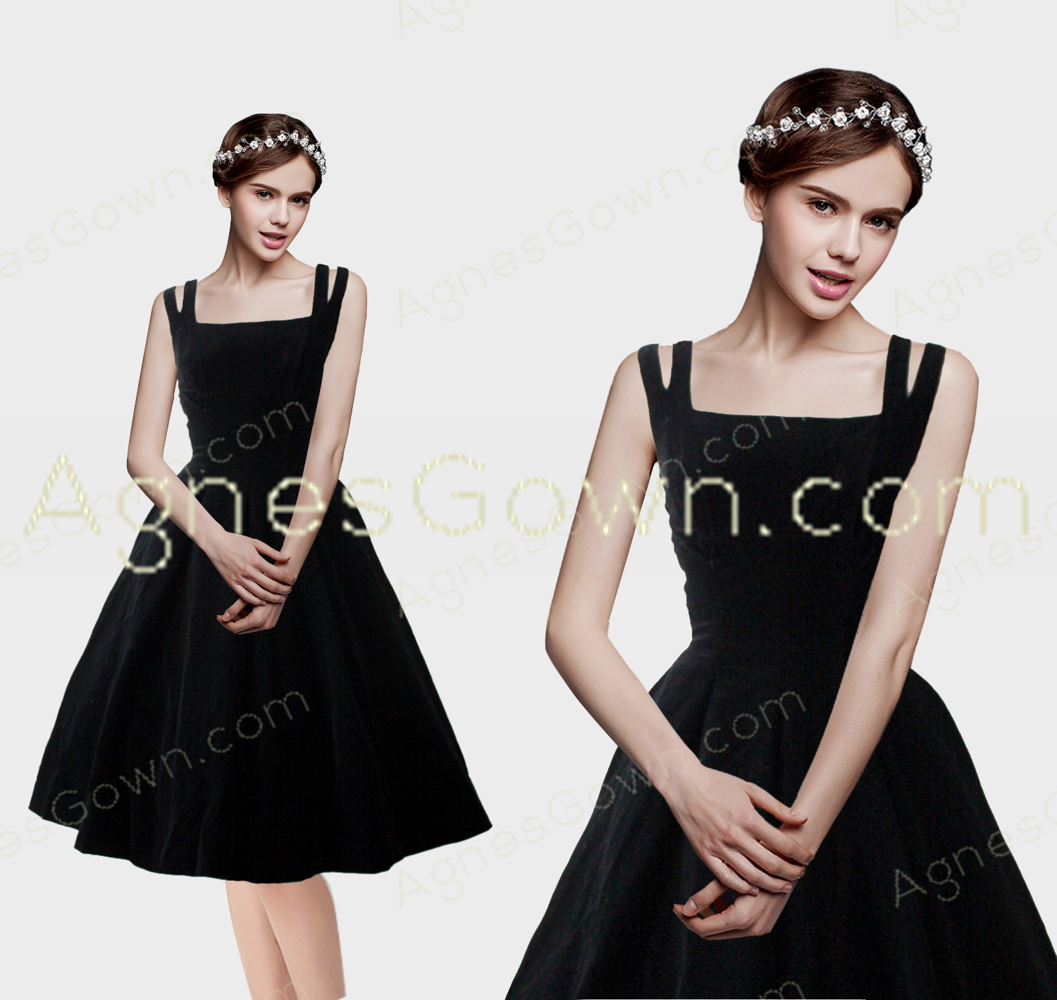 Knee Length Ball Gown Bateau Neckline Black Damas Dress