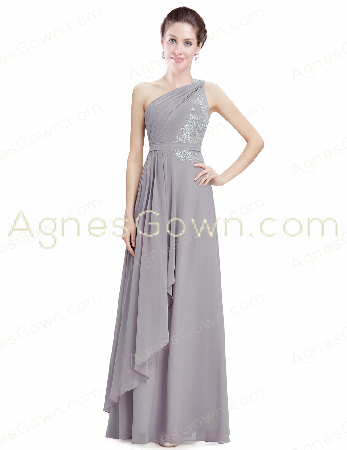 Noble One Shoulder Silver Gray Chiffon Bridesmaid Dress With Lace