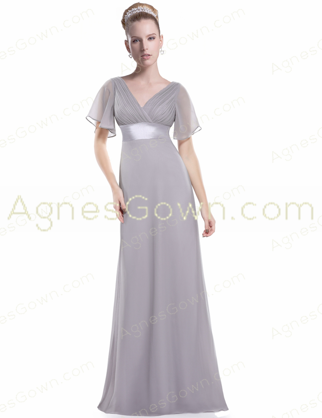 Noble V-Neckline Short Sleeves Silver Bridesmaid Dress