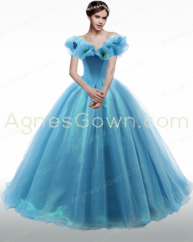 Off The Shoulder Cinderella Blue Ball Gown Quince Dress