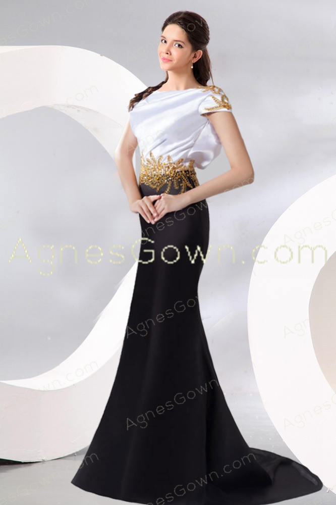 Portrait Neckline White And Black Formal Evening Dress V-Back