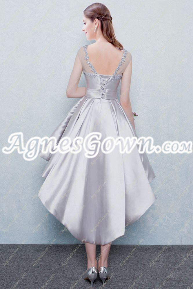 Scoop Neckline Cap Sleeves Silver High Low Prom Dress