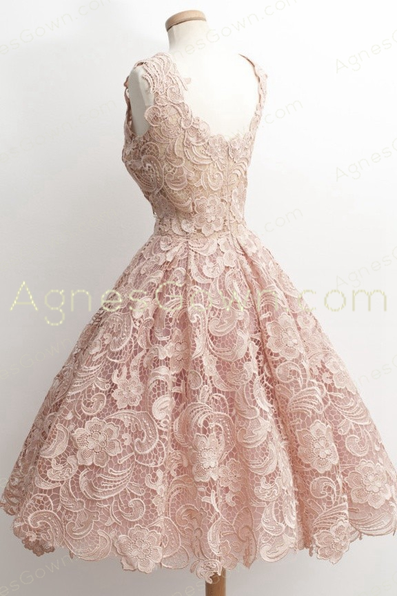 Scoop Neckline Pink Lace Prom Dress Short Length