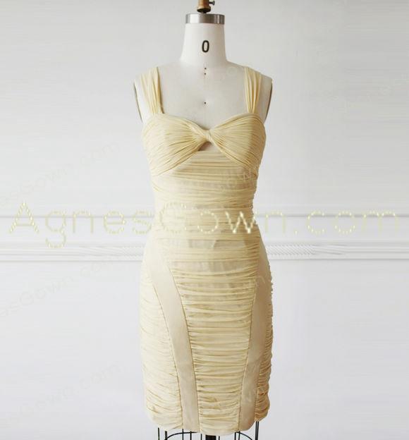 Sheath Mini Length Pale Yellow Bandage Dress
