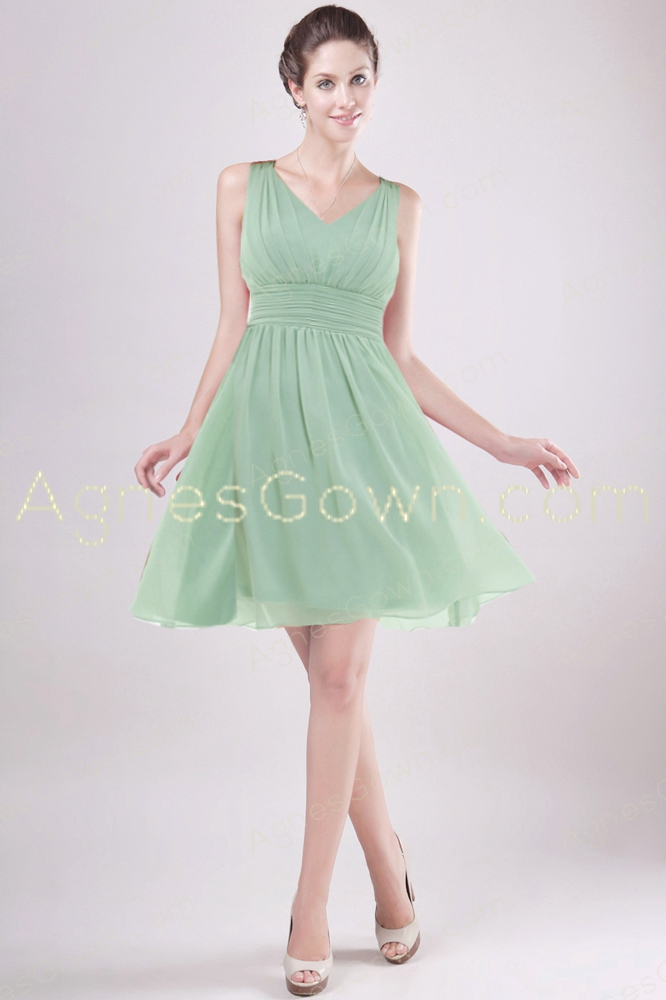 Short Length Sage Colored Junior Prom Dress