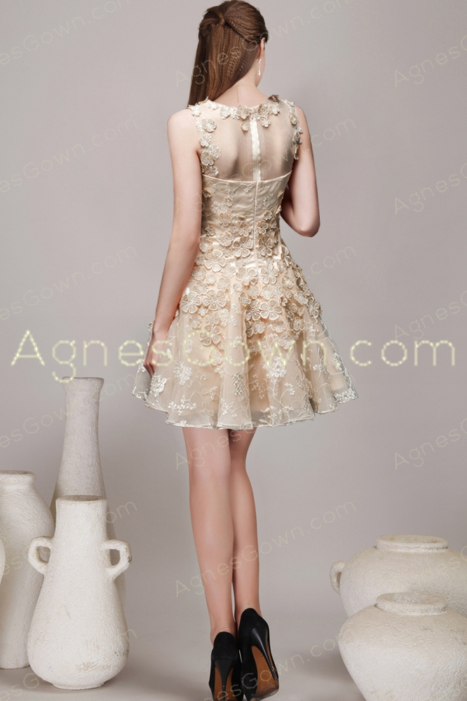 Short Puffy Mini Length Champagne Homecoming Dress
