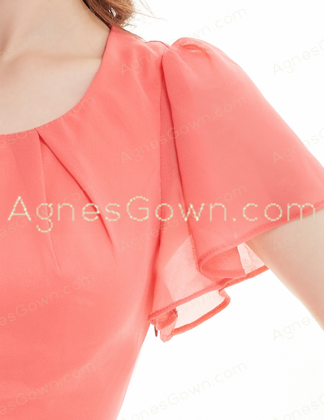 Short Sleeves Scoop Neckline Coral Junior Prom Dress